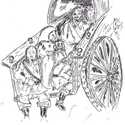 Assis à l'arrière d'une charrette chargée de bagages et de blessés, les jambes pendantes dans le vide, Valentin Rochereau somnolait