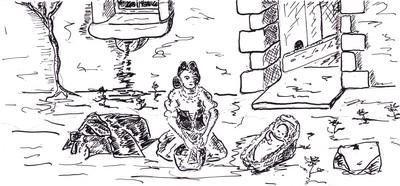 Elle avait posé à ses pieds la corbeille d'osier qui servait de berceau à Cathy