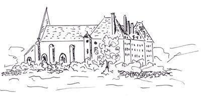 une sorte de prairie en pente au bas de laquelle se dressaient la chapelle et les bâtiments conventuels de l'Abbaye Cistercienne du Pin