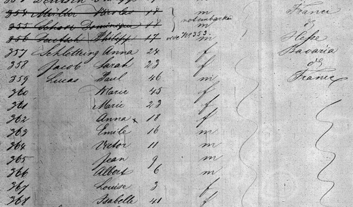 Liste de passagers du Bavaria descendant à New-York le 2 décembre 1854